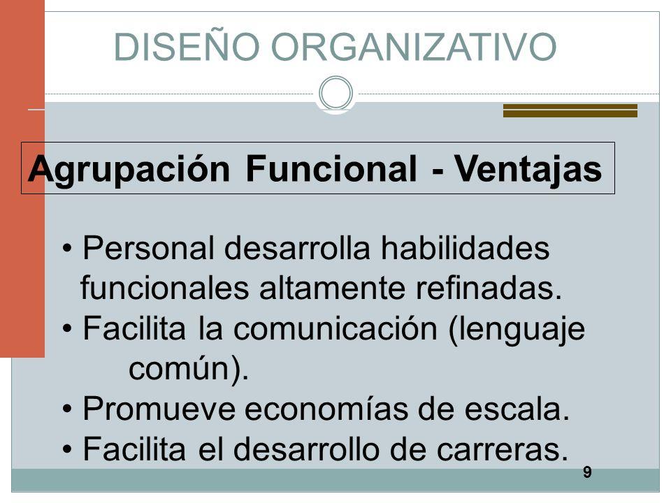 DISEÑO ORGANIZATIVO Agrupación Funcional - Ventajas