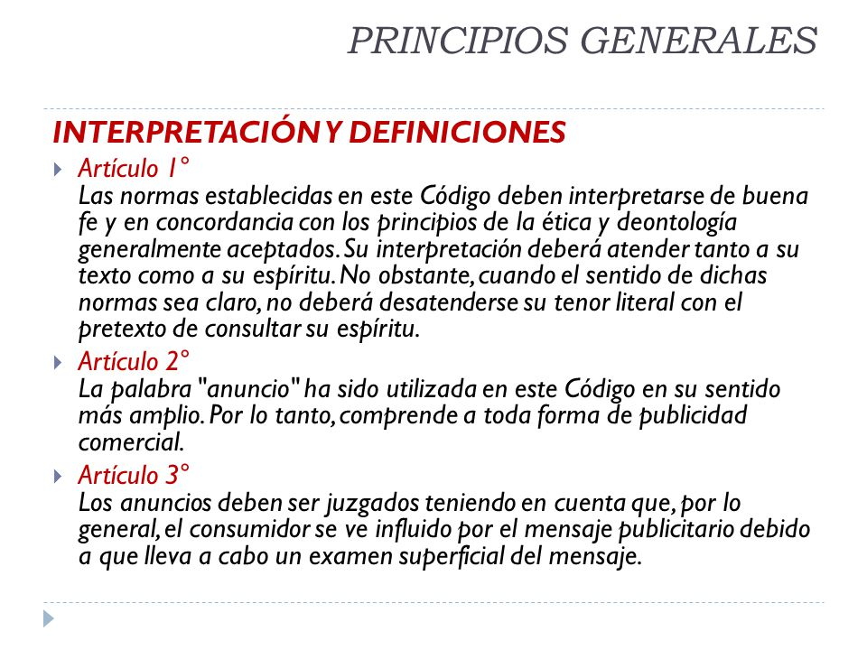 PRINCIPIOS GENERALES INTERPRETACIÓN Y DEFINICIONES