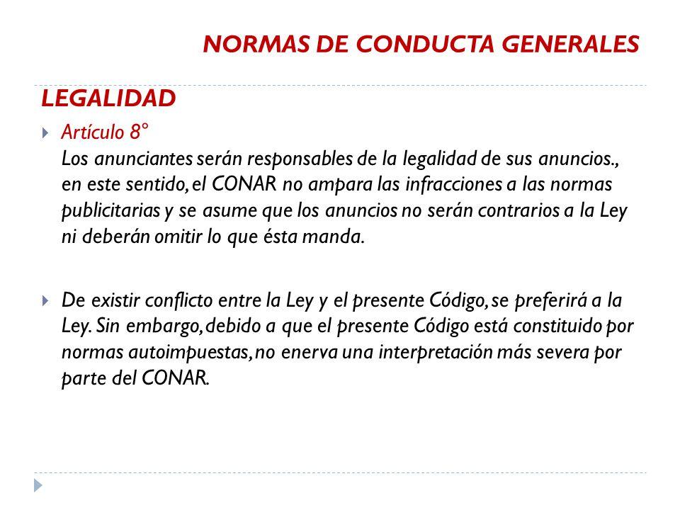 NORMAS DE CONDUCTA GENERALES