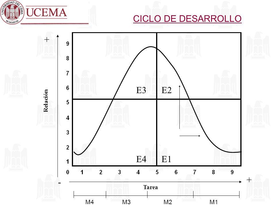 CICLO DE DESARROLLO + E3 E2 Relación E4 E1 + - Tarea M4 M3 M2 M1