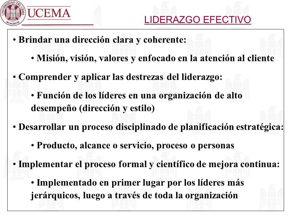 LIDERAZGO EFECTIVO Brindar una dirección clara y coherente: Misión, visión, valores y enfocado en la atención al cliente.
