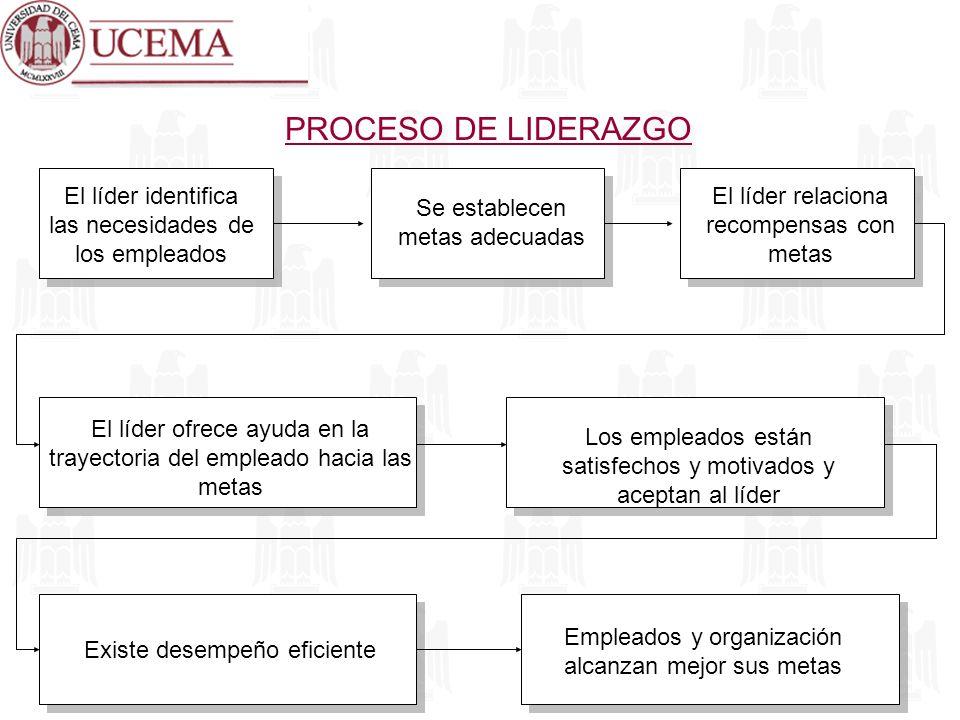 PROCESO DE LIDERAZGO El líder identifica las necesidades de los empleados. Se establecen metas adecuadas.