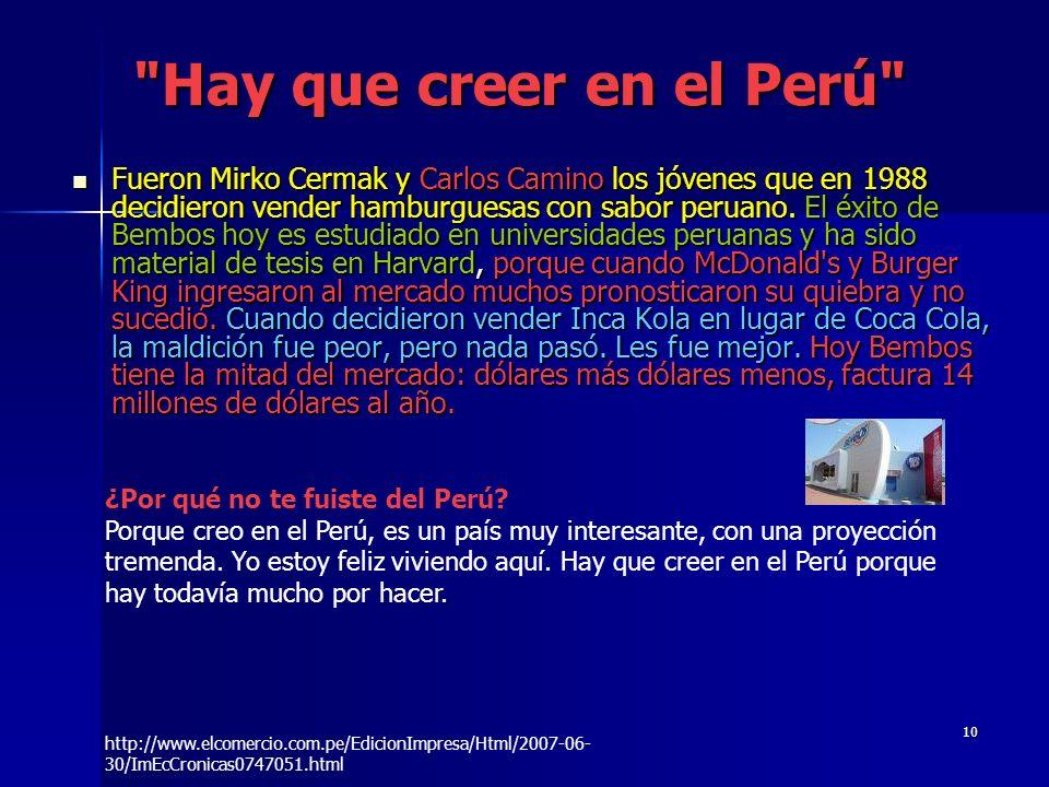 Hay que creer en el Perú