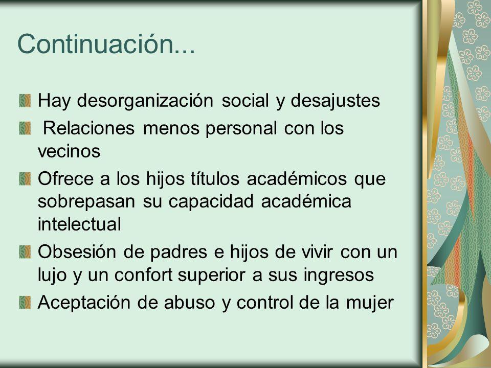 Continuación... Hay desorganización social y desajustes