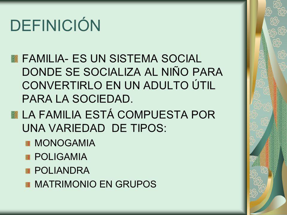 DEFINICIÓN FAMILIA- ES UN SISTEMA SOCIAL DONDE SE SOCIALIZA AL NIÑO PARA CONVERTIRLO EN UN ADULTO ÚTIL PARA LA SOCIEDAD.
