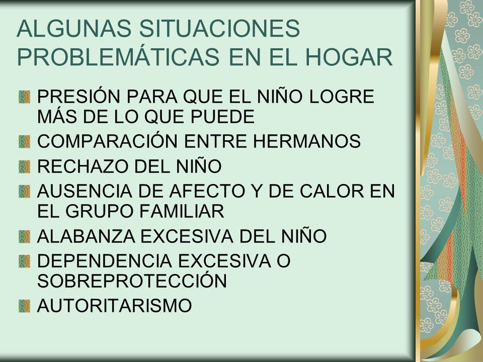 ALGUNAS SITUACIONES PROBLEMÁTICAS EN EL HOGAR