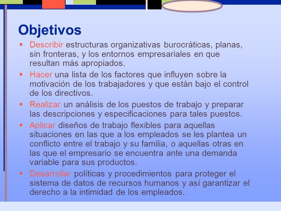 Objetivos Describir estructuras organizativas burocráticas, planas, sin fronteras, y los entornos empresariales en que resultan más apropiados.