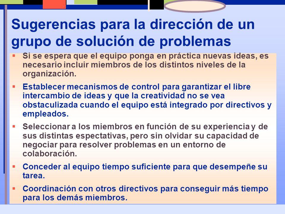 Sugerencias para la dirección de un grupo de solución de problemas