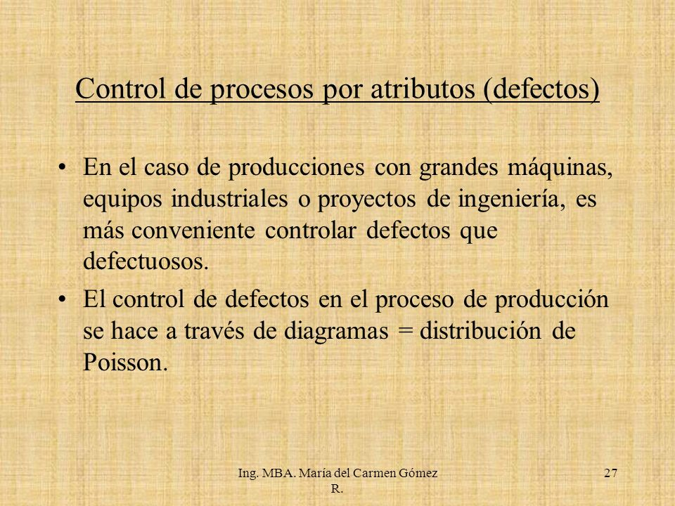 Control de procesos por atributos (defectos)
