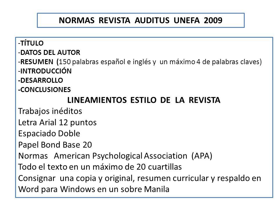 NORMAS REVISTA AUDITUS UNEFA 2009