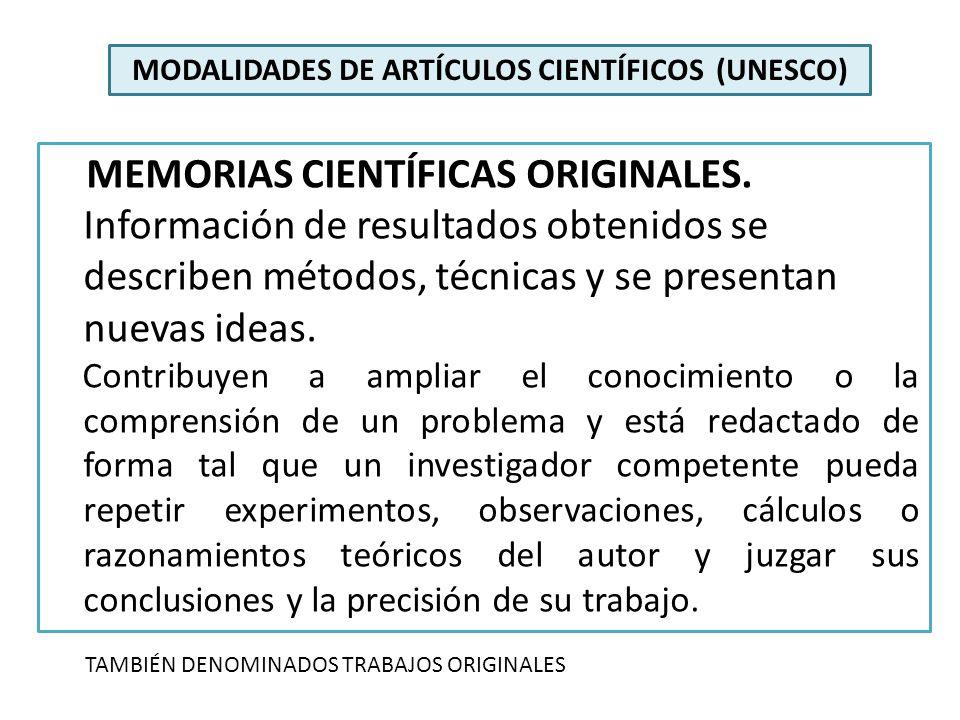 MODALIDADES DE ARTÍCULOS CIENTÍFICOS (UNESCO)