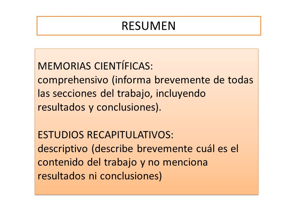 RESUMEN MEMORIAS CIENTÍFICAS: