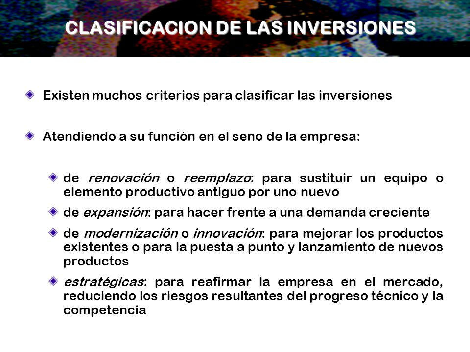 CLASIFICACION DE LAS INVERSIONES