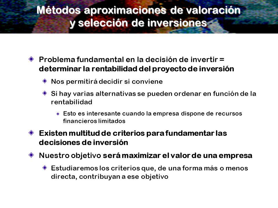 Métodos aproximaciones de valoración y selección de inversiones