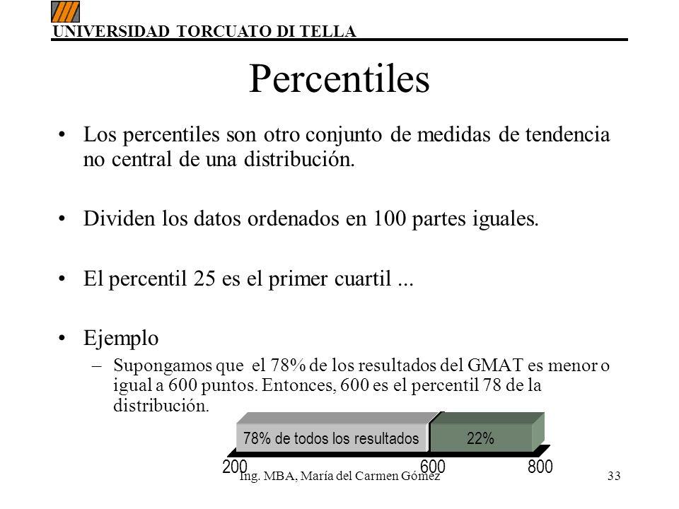 Percentiles Los percentiles son otro conjunto de medidas de tendencia no central de una distribución.