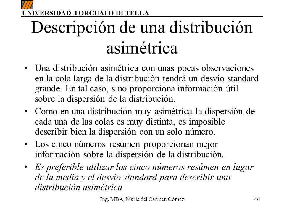 Descripción de una distribución asimétrica