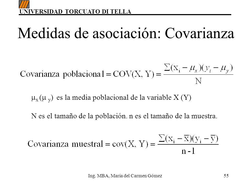Medidas de asociación: Covarianza
