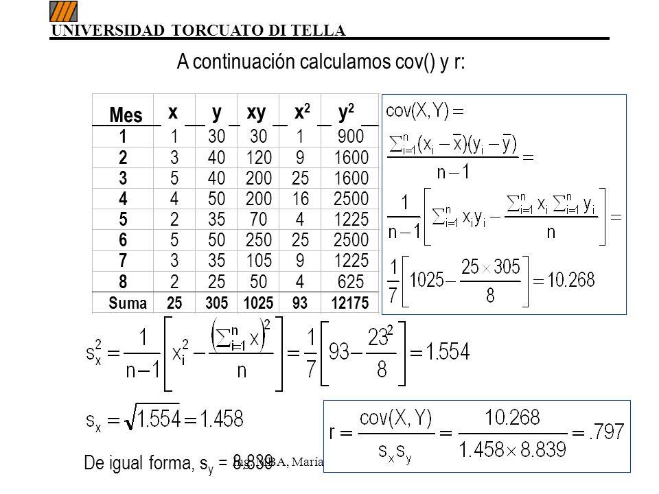 A continuación calculamos cov() y r: