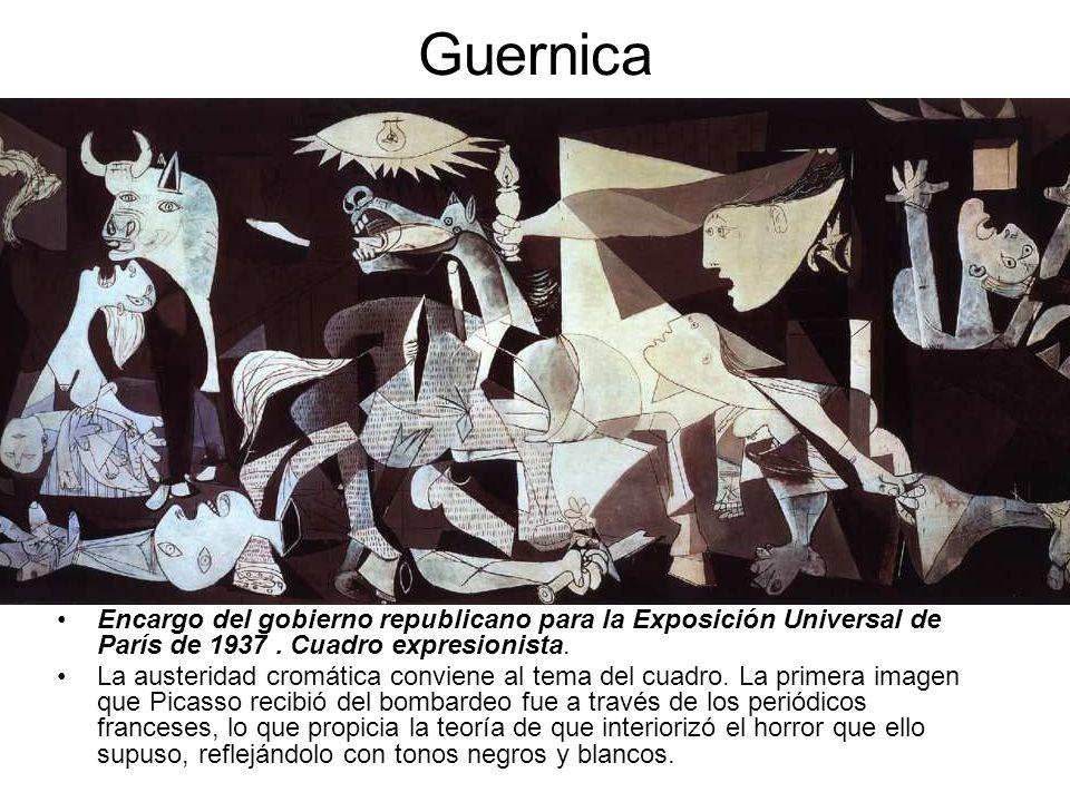 Guernica Encargo del gobierno republicano para la Exposición Universal de París de 1937 . Cuadro expresionista.