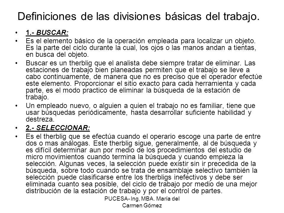 Definiciones de las divisiones básicas del trabajo.