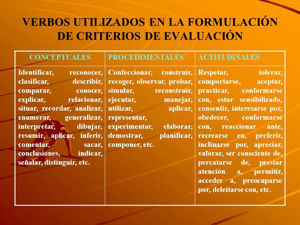 VERBOS UTILIZADOS EN LA FORMULACIÓN DE CRITERIOS DE EVALUACIÓN