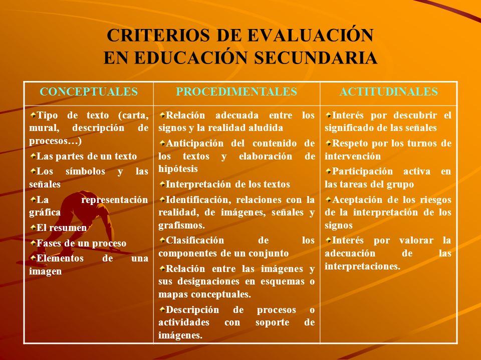 CRITERIOS DE EVALUACIÓN EN EDUCACIÓN SECUNDARIA