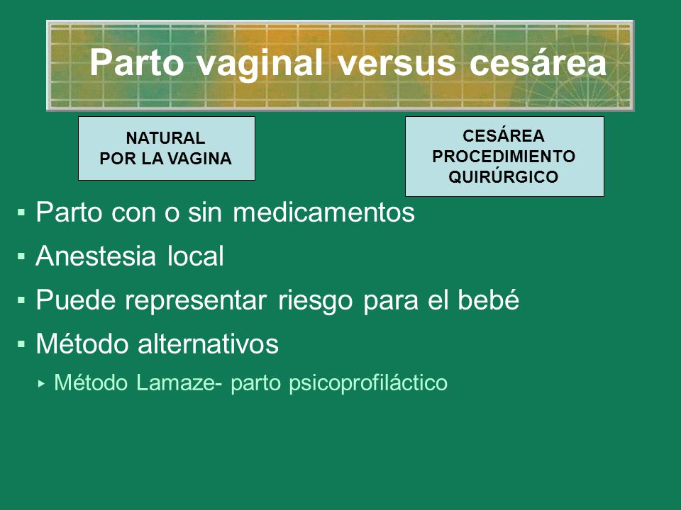 Parto vaginal versus cesárea