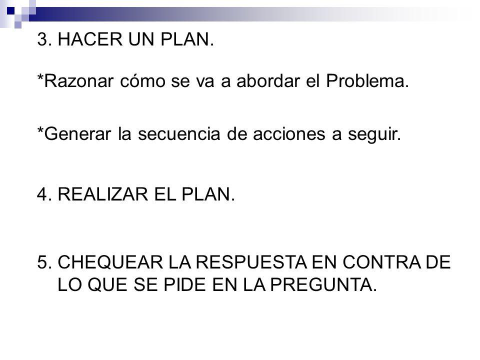 3. HACER UN PLAN. *Razonar cómo se va a abordar el Problema. *Generar la secuencia de acciones a seguir.