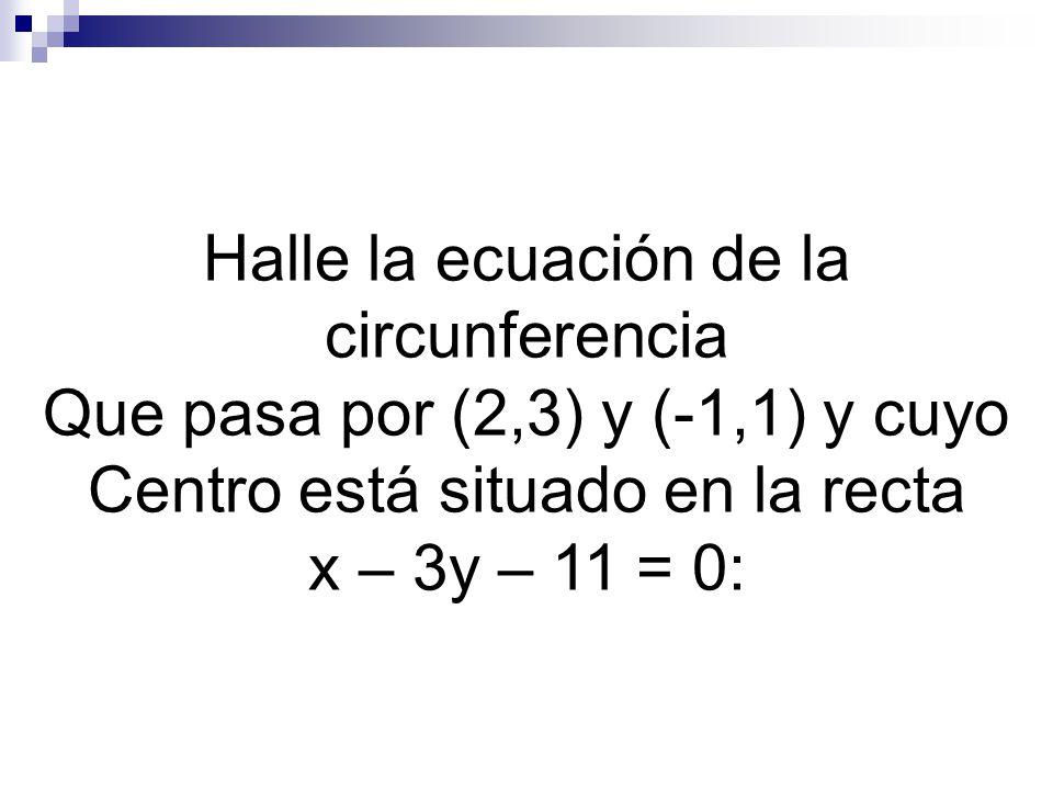 Halle la ecuación de la circunferencia