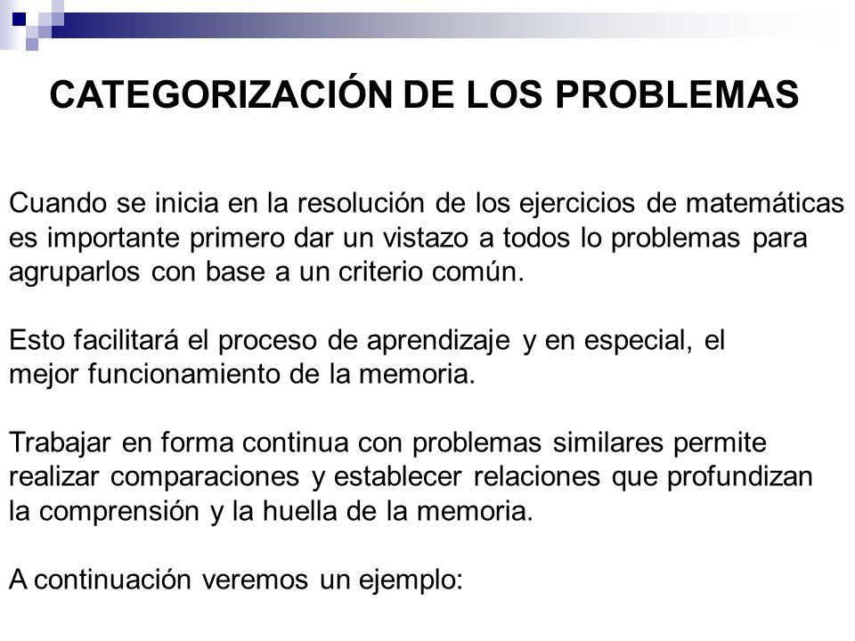 CATEGORIZACIÓN DE LOS PROBLEMAS