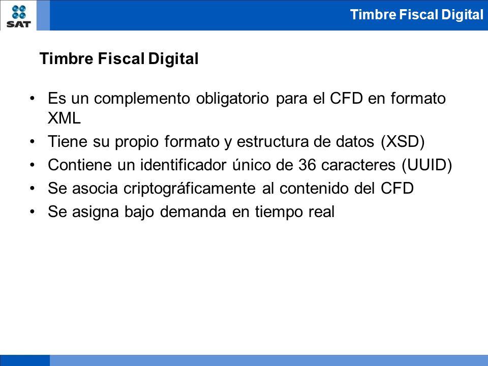 Es un complemento obligatorio para el CFD en formato XML