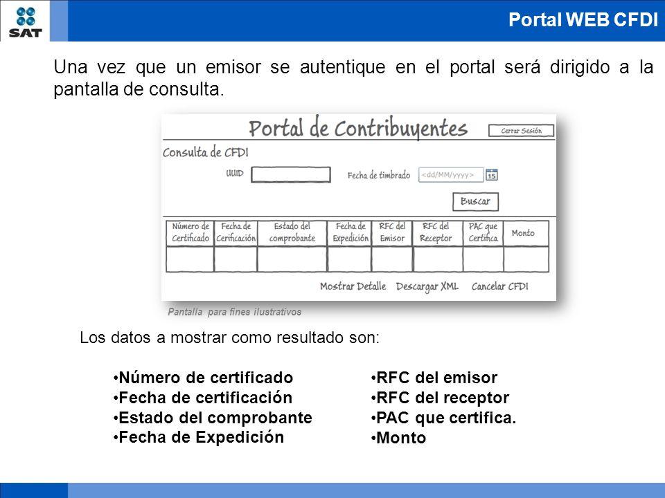 Portal WEB CFDI Una vez que un emisor se autentique en el portal será dirigido a la pantalla de consulta.