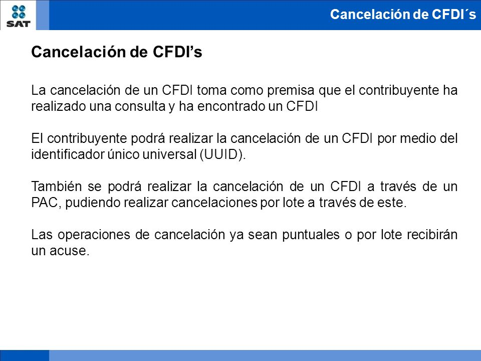Cancelación de CFDI's Cancelación de CFDI´s