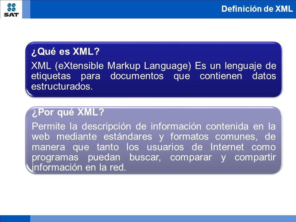 Definición de XML ¿Qué es XML XML (eXtensible Markup Language) Es un lenguaje de etiquetas para documentos que contienen datos estructurados.