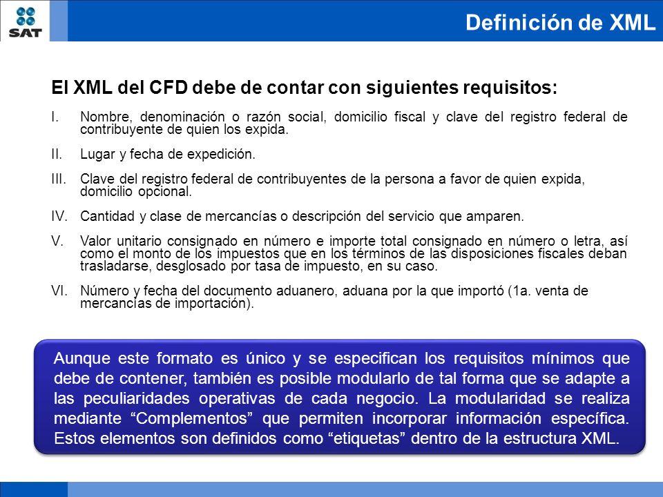 Definición de XML El XML del CFD debe de contar con siguientes requisitos: