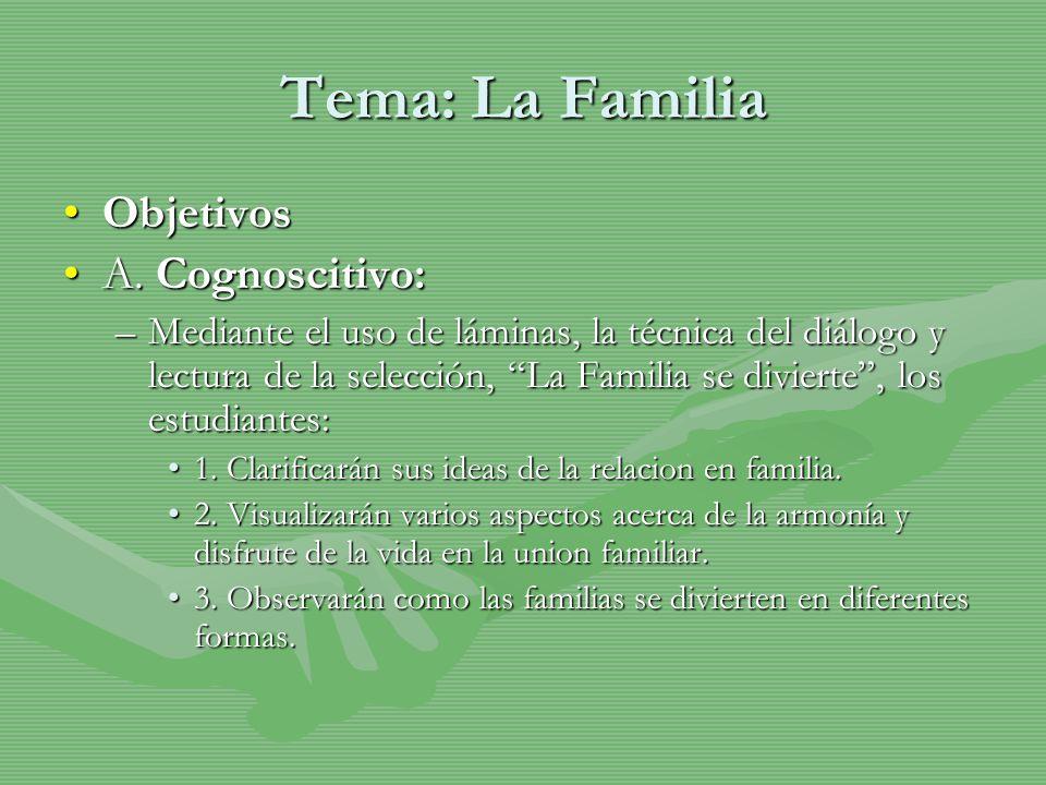 Tema: La Familia Objetivos A. Cognoscitivo:
