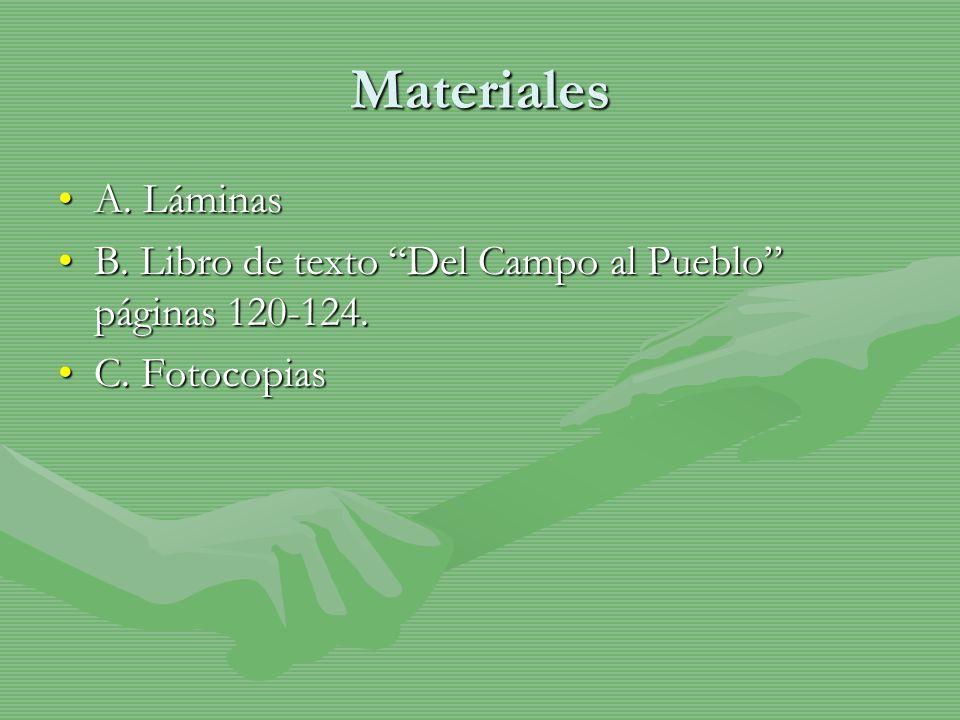 Materiales A. Láminas B. Libro de texto Del Campo al Pueblo páginas 120-124. C. Fotocopias