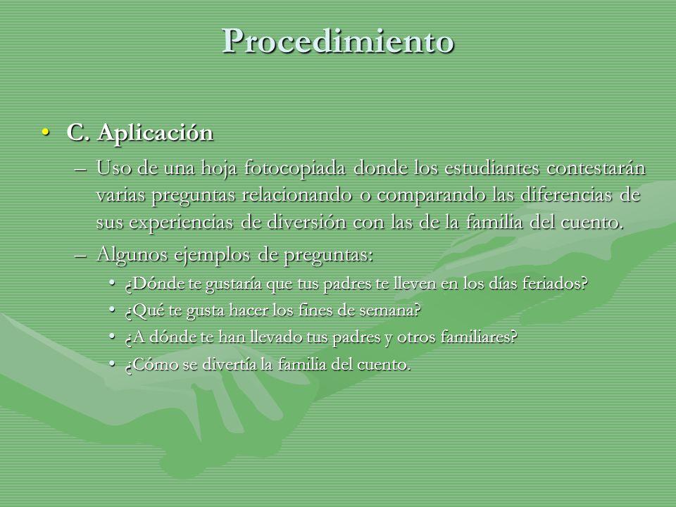 Procedimiento C. Aplicación