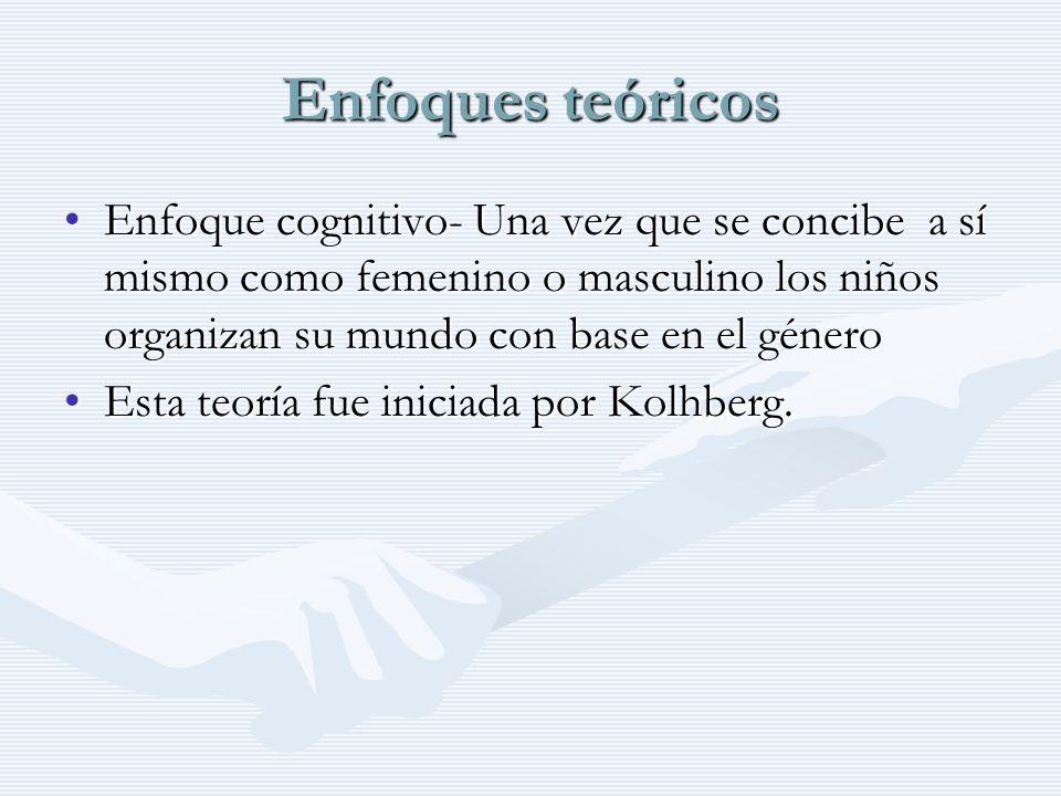 Enfoques teóricos Enfoque cognitivo- Una vez que se concibe a sí mismo como femenino o masculino los niños organizan su mundo con base en el género.