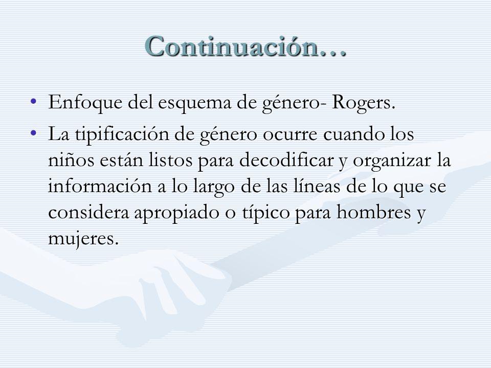 Continuación… Enfoque del esquema de género- Rogers.