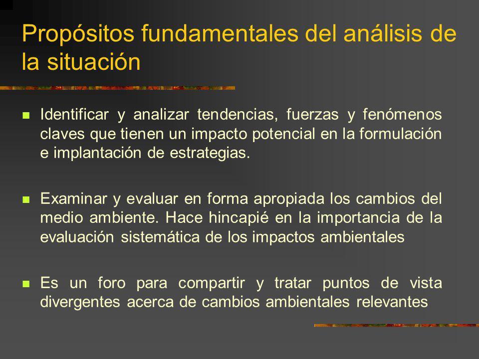 Propósitos fundamentales del análisis de la situación