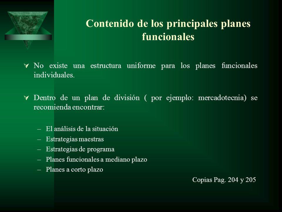 Contenido de los principales planes funcionales