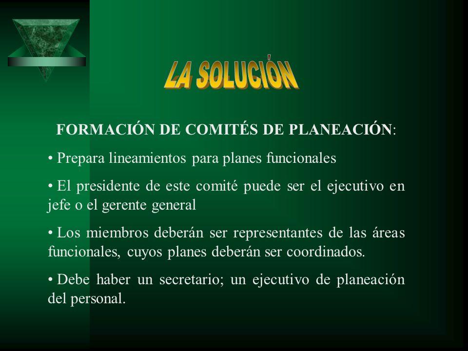 FORMACIÓN DE COMITÉS DE PLANEACIÓN: