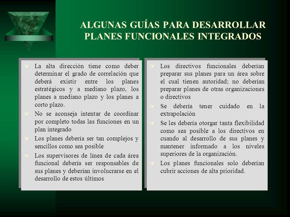 ALGUNAS GUÍAS PARA DESARROLLAR PLANES FUNCIONALES INTEGRADOS