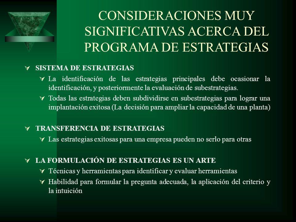 CONSIDERACIONES MUY SIGNIFICATIVAS ACERCA DEL PROGRAMA DE ESTRATEGIAS