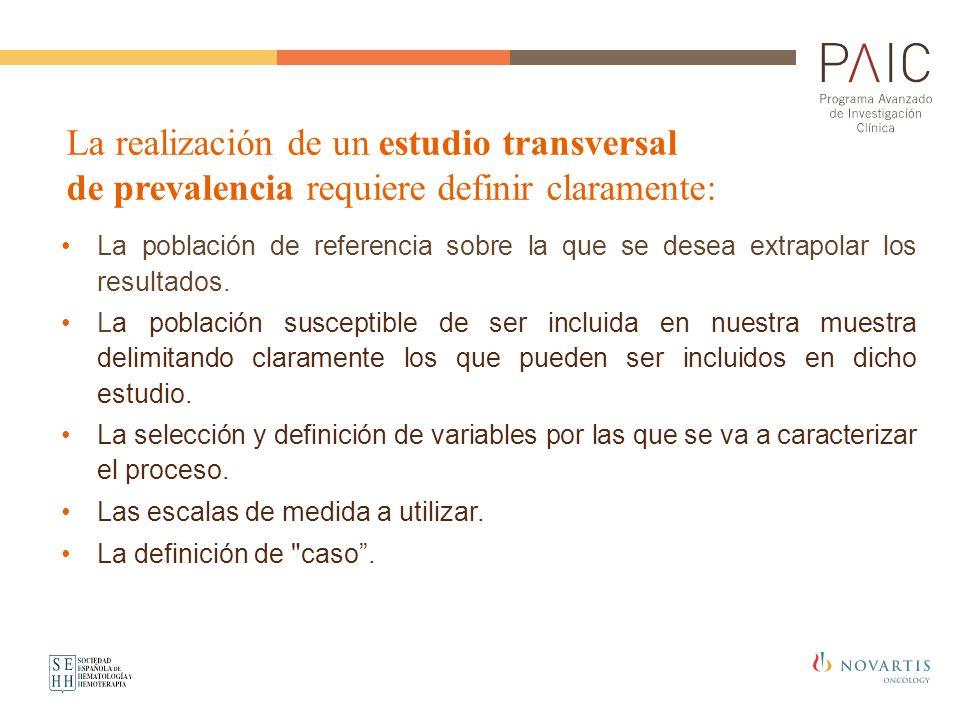 La realización de un estudio transversal de prevalencia requiere definir claramente: