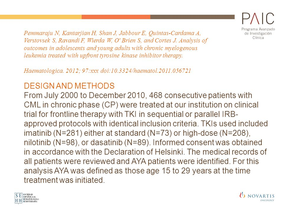 Pemmaraju N, Kantarjian H, Shan J, Jabbour E, Quintas-Cardama A, Verstovsek S, Ravandi F, Wierda W, O Brien S, and Cortes J. Analysis of outcomes in adolescents and young adults with chronic myelogenous leukemia treated with upfront tyrosine kinase inhibitor therapy.