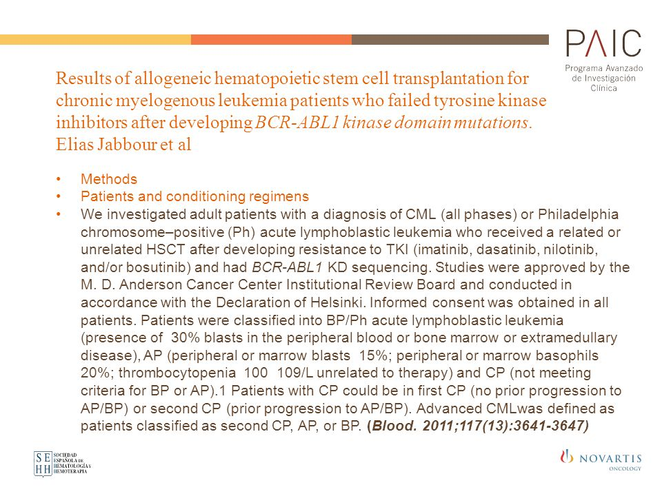 Results of allogeneic hematopoietic stem cell transplantation for chronic myelogenous leukemia patients who failed tyrosine kinase inhibitors after developing BCR-ABL1 kinase domain mutations. Elias Jabbour et al