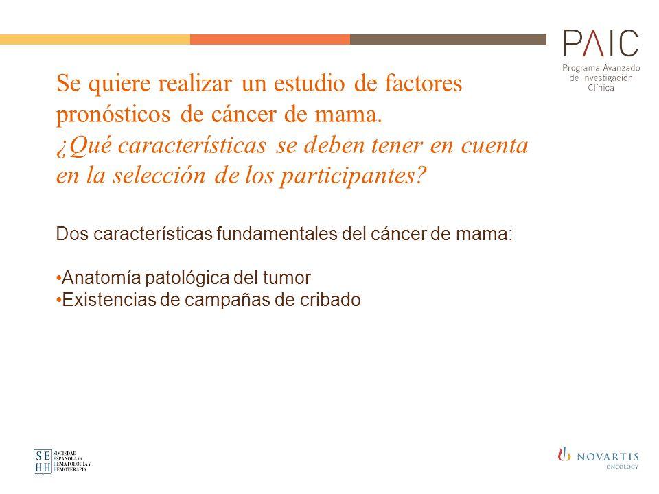 Se quiere realizar un estudio de factores pronósticos de cáncer de mama.