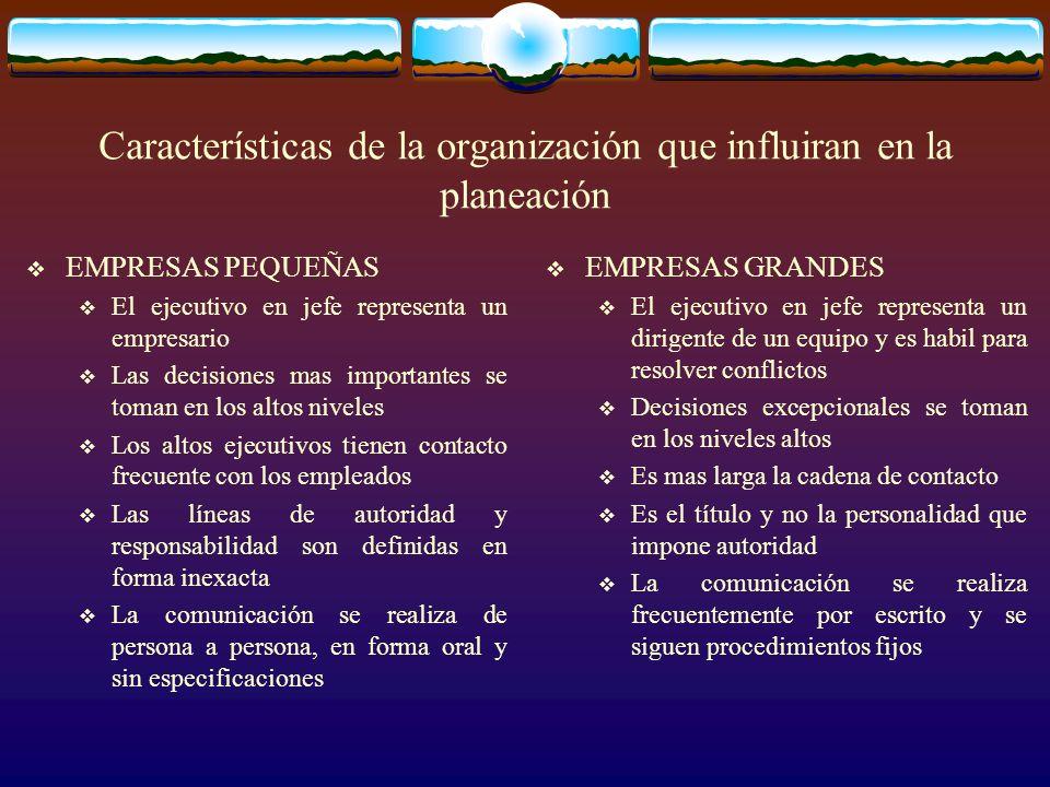 Características de la organización que influiran en la planeación
